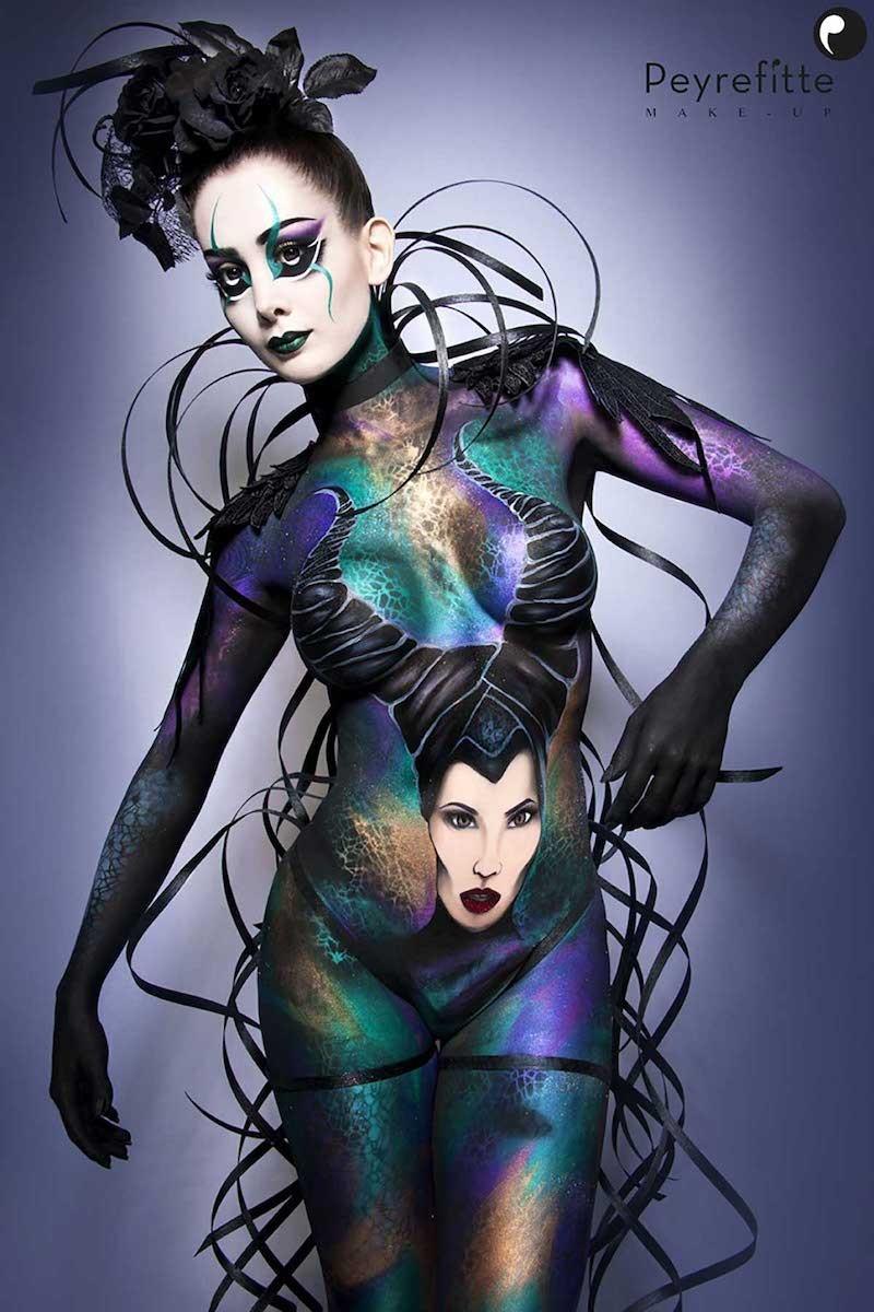 Création d'un bodypainting artisique. Inspiration du personnage Maléfique.